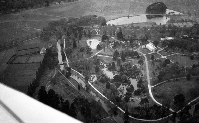 Aerial view of the Christchurch Botanic Gardens 1935